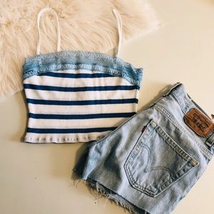 Abercrombie White Stripe Crop Tank Top